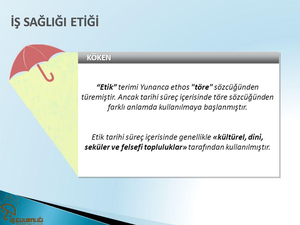 """KÖKENKÖKEN """"Etik"""" terimi Yunanca ethos"""