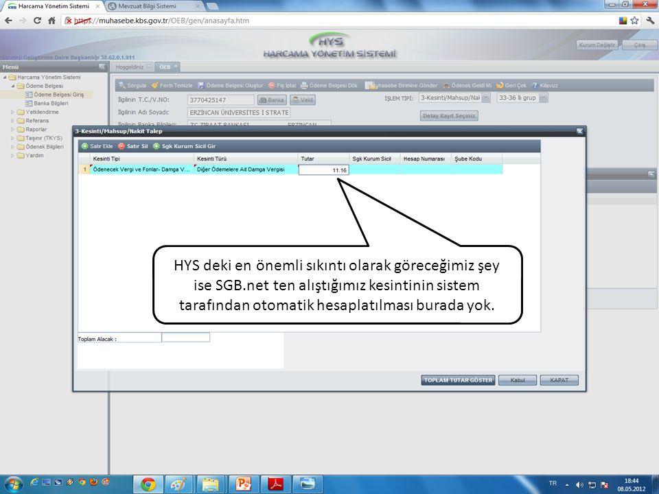 HYS deki en önemli sıkıntı olarak göreceğimiz şey ise SGB.net ten alıştığımız kesintinin sistem tarafından otomatik hesaplatılması burada yok.