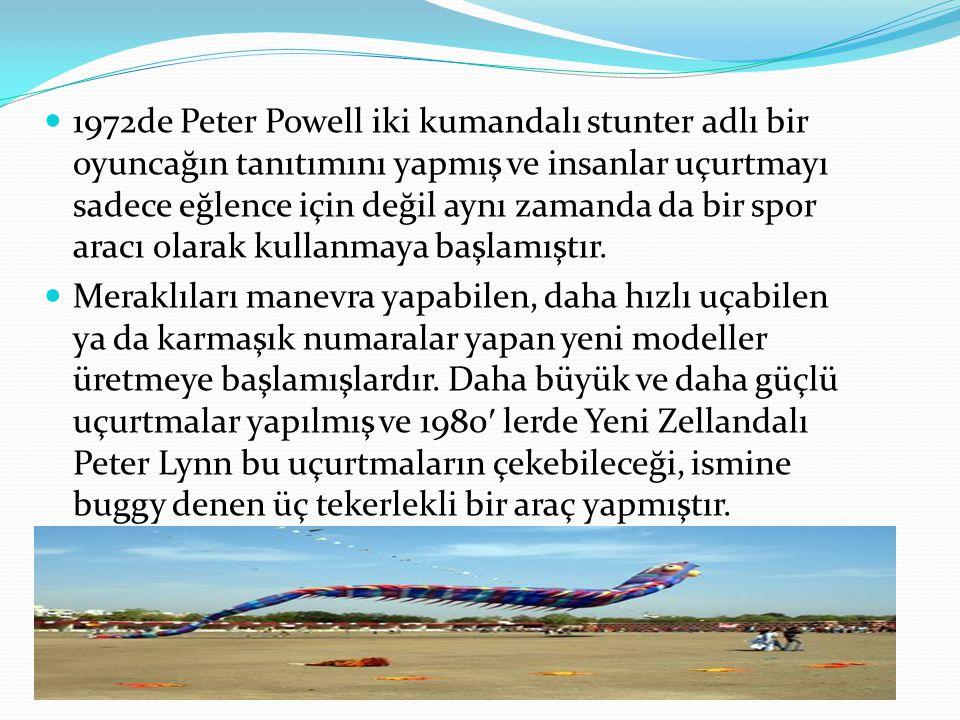  1972de Peter Powell iki kumandalı stunter adlı bir oyuncağın tanıtımını yapmış ve insanlar uçurtmayı sadece eğlence için değil aynı zamanda da bir s