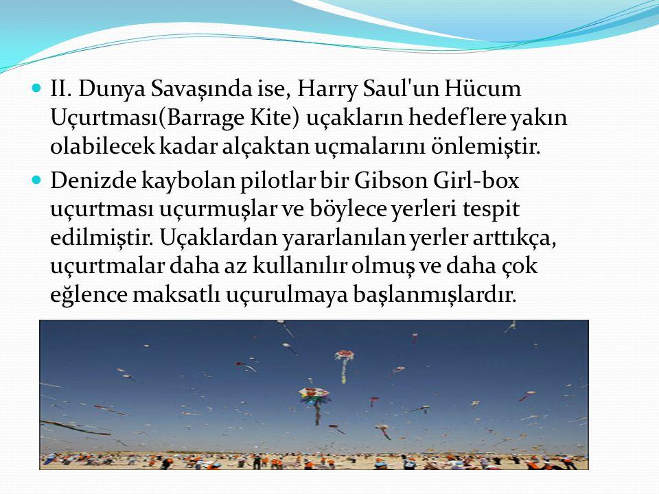  II. Dunya Savaşında ise, Harry Saul'un Hücum Uçurtması(Barrage Kite) uçakların hedeflere yakın olabilecek kadar alçaktan uçmalarını önlemiştir.  De