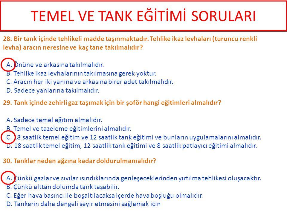 30. Tanklar neden ağzına kadar doldurulmamalıdır? A. Çünkü gazlar ve sıvılar ısındıklarında genleşeceklerinden yırtılma tehlikesi oluşacaktır. B. Çünk