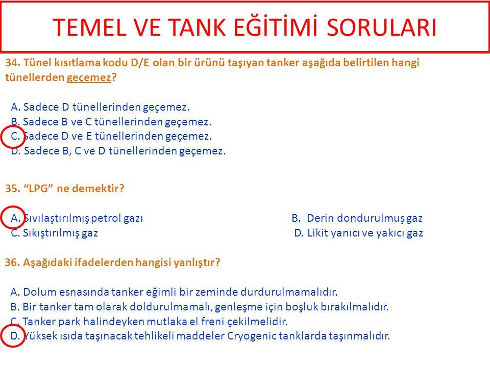 36. Aşağıdaki ifadelerden hangisi yanlıştır? A. Dolum esnasında tanker eğimli bir zeminde durdurulmamalıdır. B. Bir tanker tam olarak doldurulmamalı,