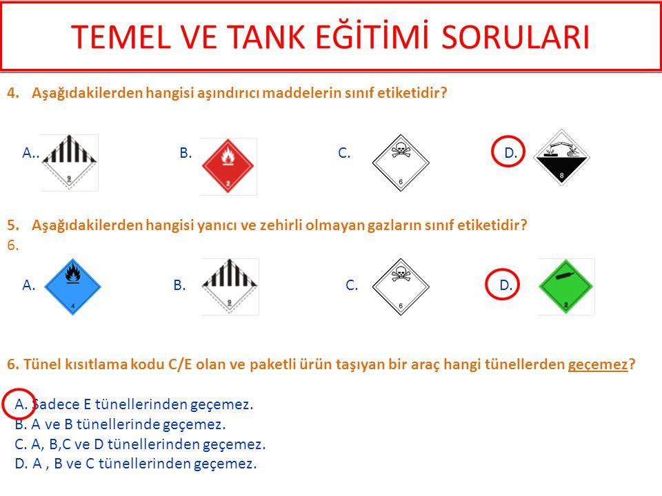 6. Tünel kısıtlama kodu C/E olan ve paketli ürün taşıyan bir araç hangi tünellerden geçemez? A. Sadece E tünellerinden geçemez. B. A ve B tünellerinde