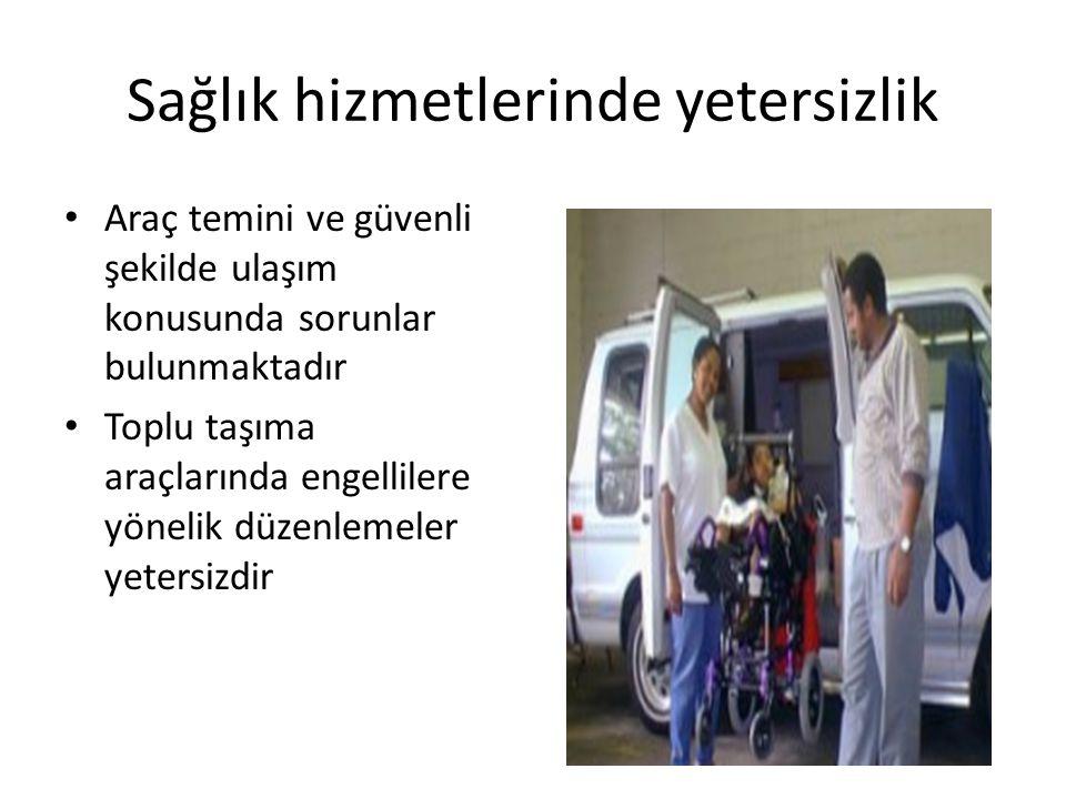 Sağlık hizmetlerinde yetersizlik • Araç temini ve güvenli şekilde ulaşım konusunda sorunlar bulunmaktadır • Toplu taşıma araçlarında engellilere yönel