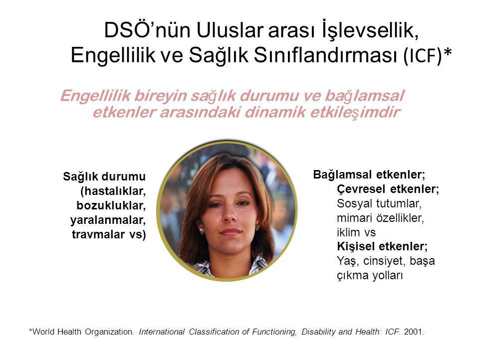 DSÖ'nün Uluslar arası İşlevsellik, Engellilik ve Sağlık Sınıflandırması (ICF)* *World Health Organization. International Classification of Functioning