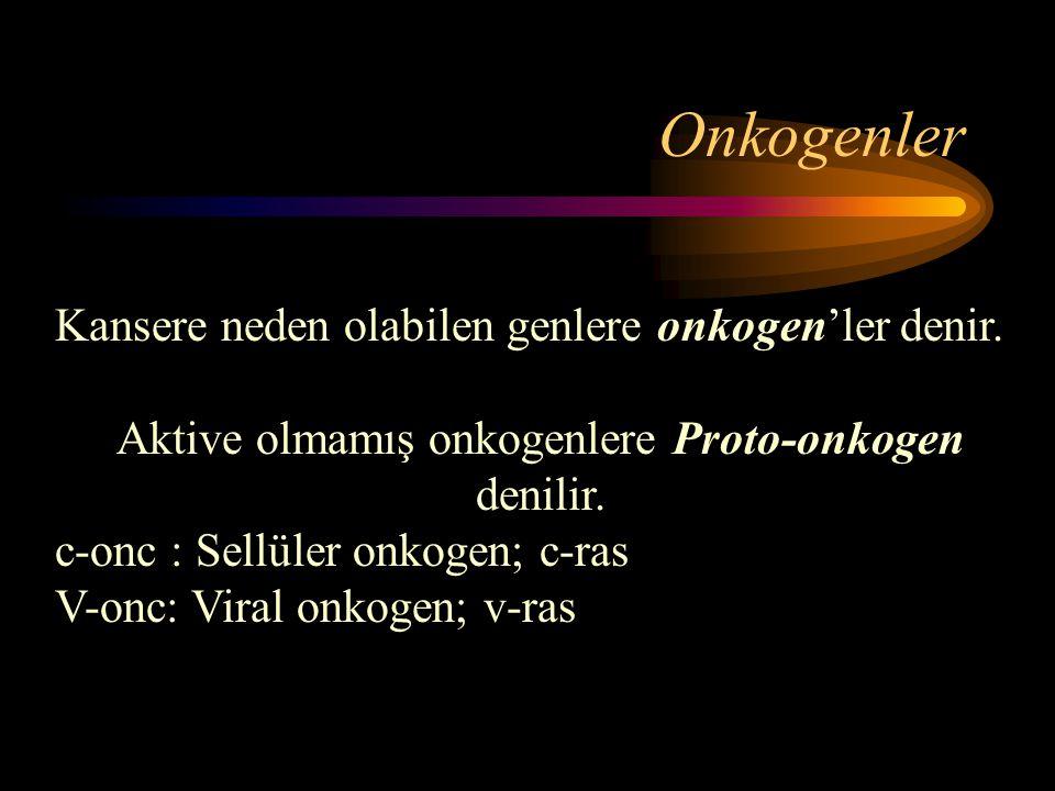 Onkogenler Kansere neden olabilen genlere onkogen'ler denir. Aktive olmamış onkogenlere Proto-onkogen denilir. c-onc : Sellüler onkogen; c-ras V-onc: