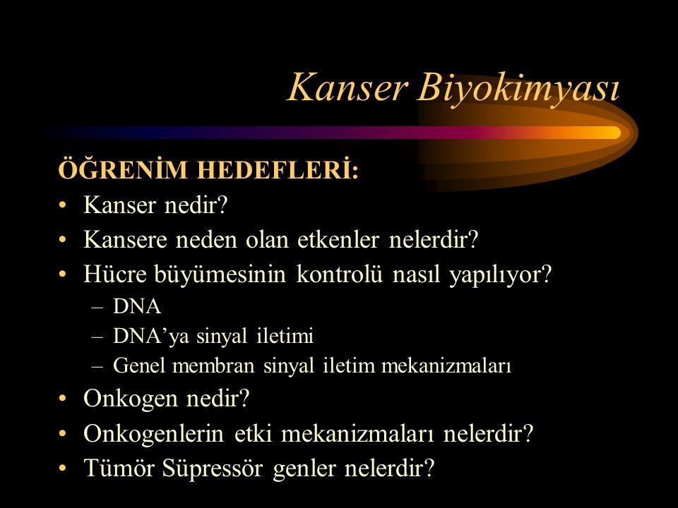Kanser Biyokimyası ÖĞRENİM HEDEFLERİ: •Kanser nedir? •Kansere neden olan etkenler nelerdir? •Hücre büyümesinin kontrolü nasıl yapılıyor? –DNA –DNA'ya
