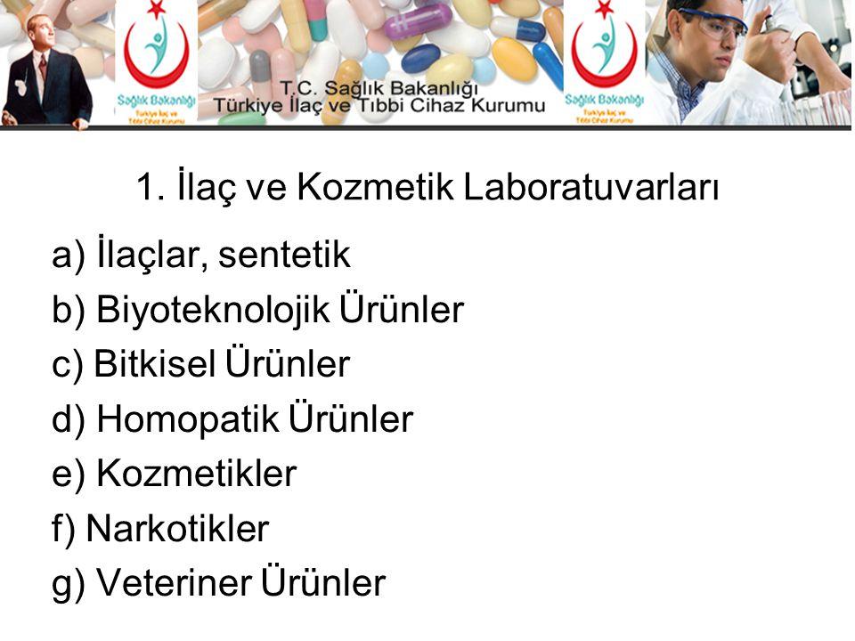 1. İlaç ve Kozmetik Laboratuvarları a) İlaçlar, sentetik b) Biyoteknolojik Ürünler c) Bitkisel Ürünler d) Homopatik Ürünler e) Kozmetikler f) Narkotik
