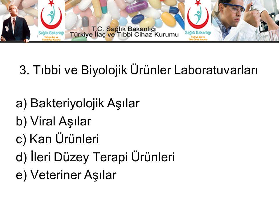 3. Tıbbi ve Biyolojik Ürünler Laboratuvarları a) Bakteriyolojik Aşılar b) Viral Aşılar c) Kan Ürünleri d) İleri Düzey Terapi Ürünleri e) Veteriner Aşı