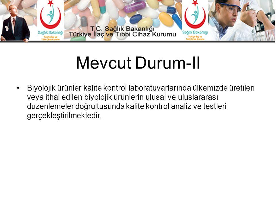 Mevcut Durum-II •Biyolojik ürünler kalite kontrol laboratuvarlarında ülkemizde üretilen veya ithal edilen biyolojik ürünlerin ulusal ve uluslararası d