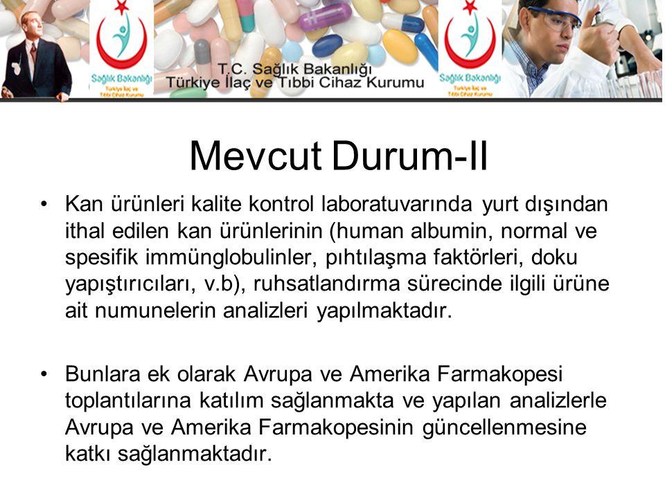 Mevcut Durum-II •Kan ürünleri kalite kontrol laboratuvarında yurt dışından ithal edilen kan ürünlerinin (human albumin, normal ve spesifik immünglobul