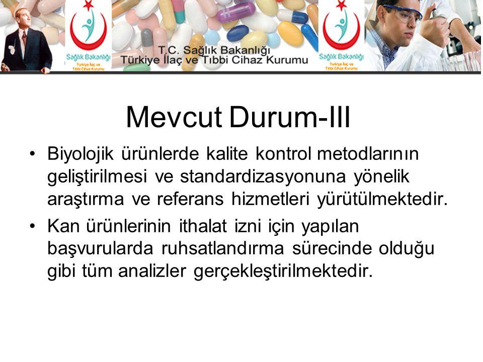 Mevcut Durum-III •Biyolojik ürünlerde kalite kontrol metodlarının geliştirilmesi ve standardizasyonuna yönelik araştırma ve referans hizmetleri yürütü