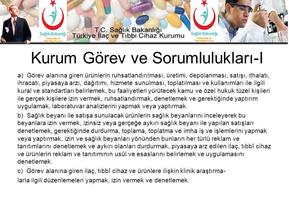 Kurum Görev ve Sorumlulukları-II ç) Türk Farmakopesini hazırlamak.