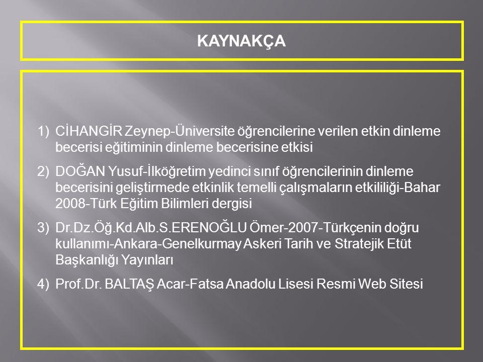 KAYNAKÇA 1)CİHANGİR Zeynep-Üniversite öğrencilerine verilen etkin dinleme becerisi eğitiminin dinleme becerisine etkisi 2)DOĞAN Yusuf-İlköğretim yedin