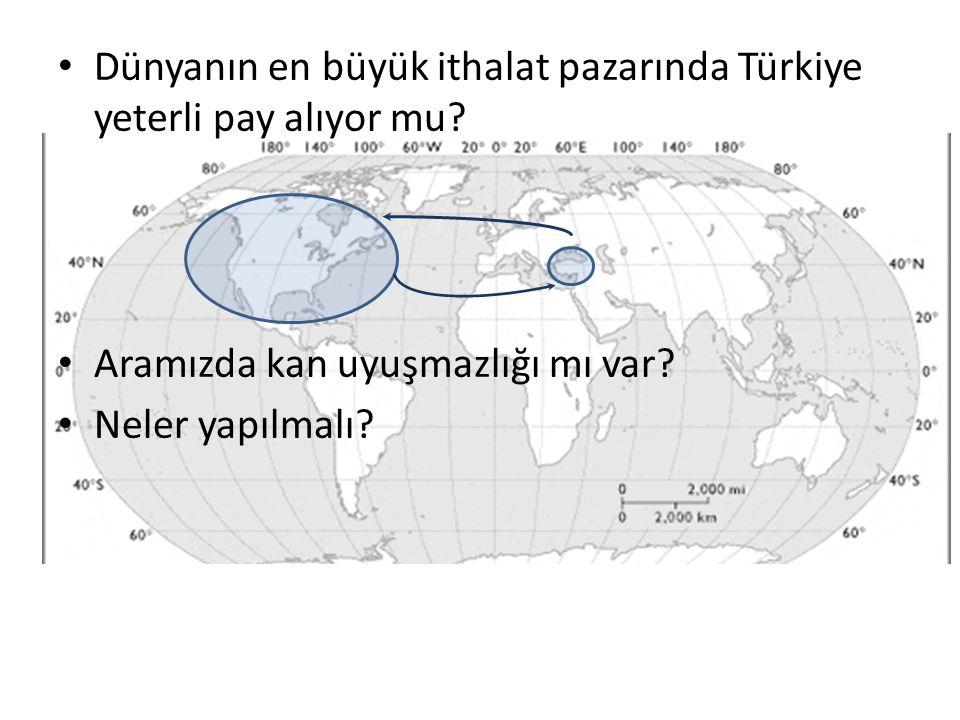 • Dünyanın en büyük ithalat pazarında Türkiye yeterli pay alıyor mu? • Aramızda kan uyuşmazlığı mı var? • Neler yapılmalı?