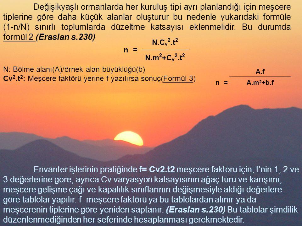 n= N.C v 2.t 2 N.m 2 +C v 2.t 2 Değişikyaşlı ormanlarda her kuruluş tipi ayrı planlandığı için meşcere tiplerine göre daha küçük alanlar oluşturur bu nedenle yukarıdaki formüle (1-n/N) sınırlı toplumlarda düzeltme katsayısı eklenmelidir.