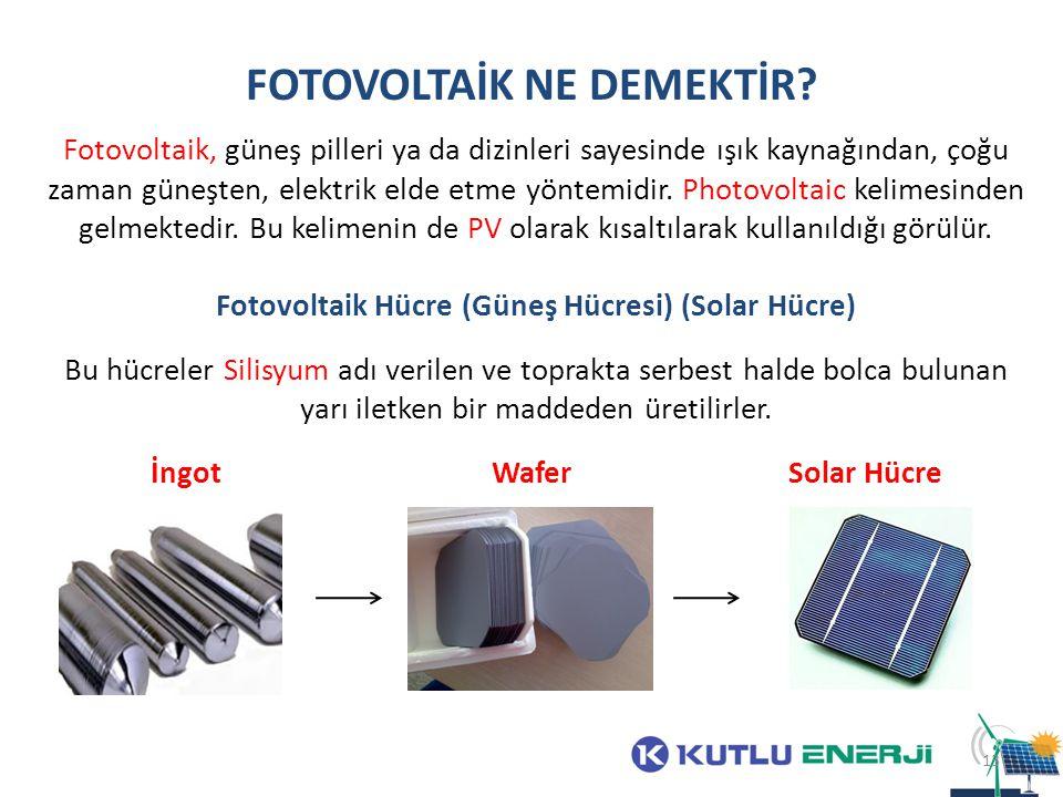 FOTOVOLTAİK NE DEMEKTİR? Fotovoltaik, güneş pilleri ya da dizinleri sayesinde ışık kaynağından, çoğu zaman güneşten, elektrik elde etme yöntemidir. Ph