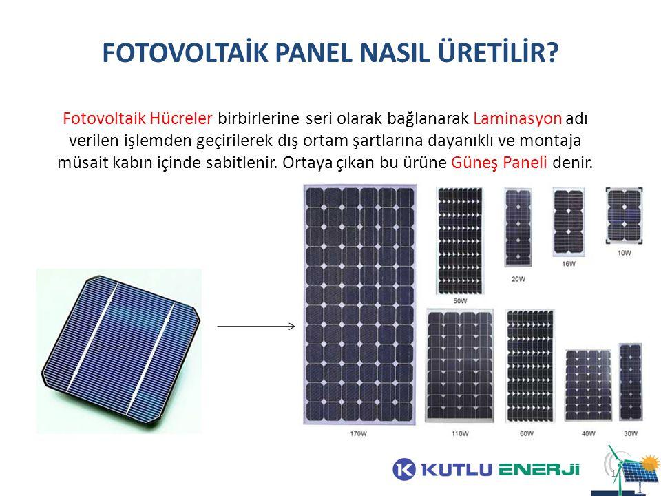FOTOVOLTAİK PANEL NASIL ÜRETİLİR? Fotovoltaik Hücreler birbirlerine seri olarak bağlanarak Laminasyon adı verilen işlemden geçirilerek dış ortam şartl