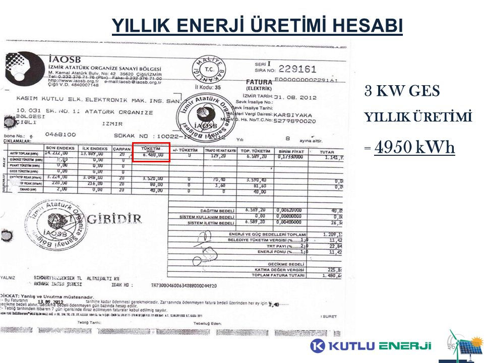 YILLIK ENERJİ ÜRETİMİ HESABI 3 KW GES YILLIK ÜRET İ M İ = 4950 kWh 36