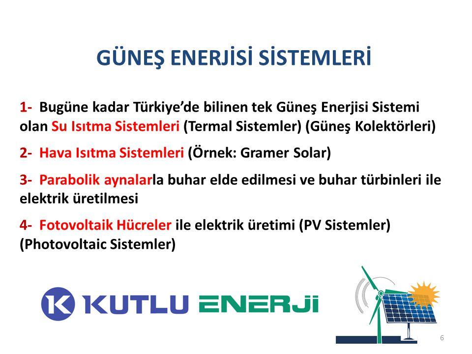 GÜNEŞ ENERJİSİ SİSTEMLERİ 1- Bugüne kadar Türkiye'de bilinen tek Güneş Enerjisi Sistemi olan Su Isıtma Sistemleri (Termal Sistemler) (Güneş Kolektörle