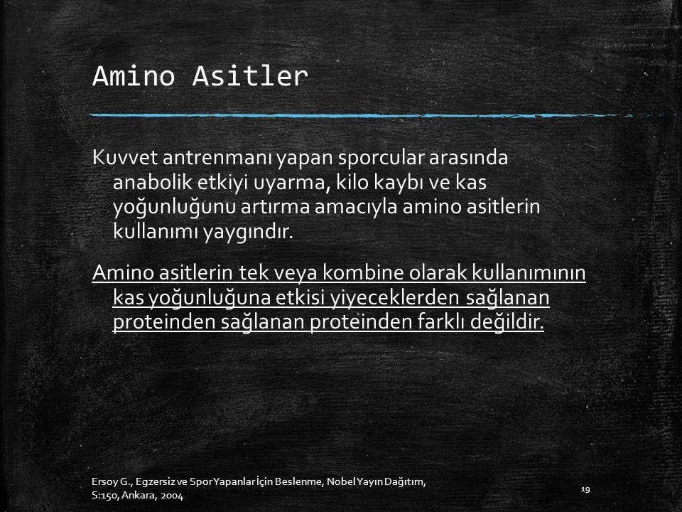 Amino Asitler Kuvvet antrenmanı yapan sporcular arasında anabolik etkiyi uyarma, kilo kaybı ve kas yoğunluğunu artırma amacıyla amino asitlerin kullanımı yaygındır.