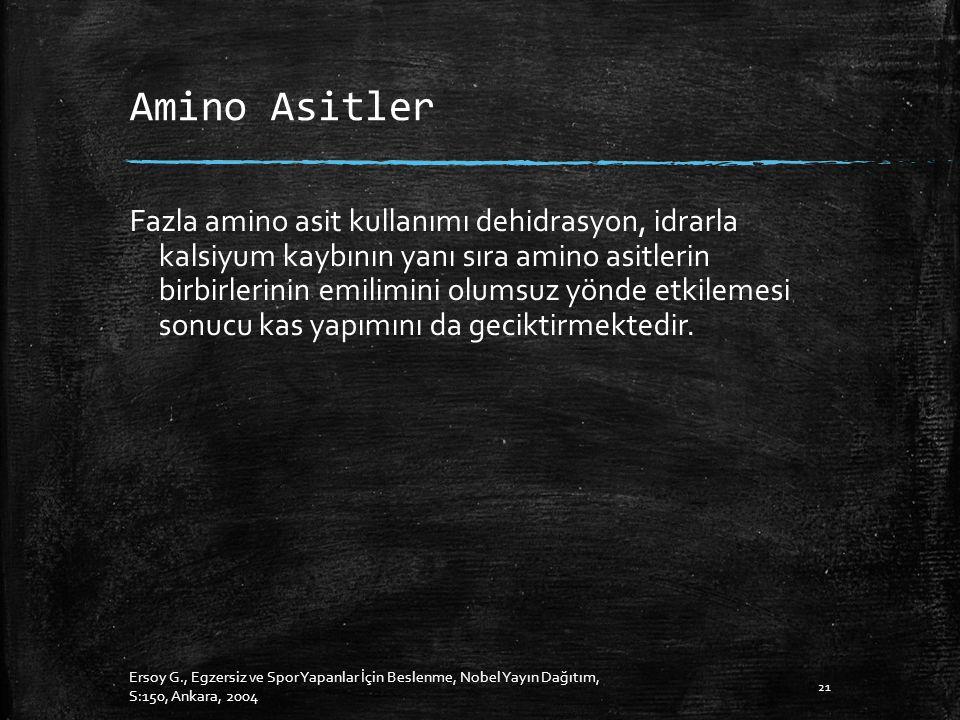 Amino Asitler Fazla amino asit kullanımı dehidrasyon, idrarla kalsiyum kaybının yanı sıra amino asitlerin birbirlerinin emilimini olumsuz yönde etkilemesi sonucu kas yapımını da geciktirmektedir.