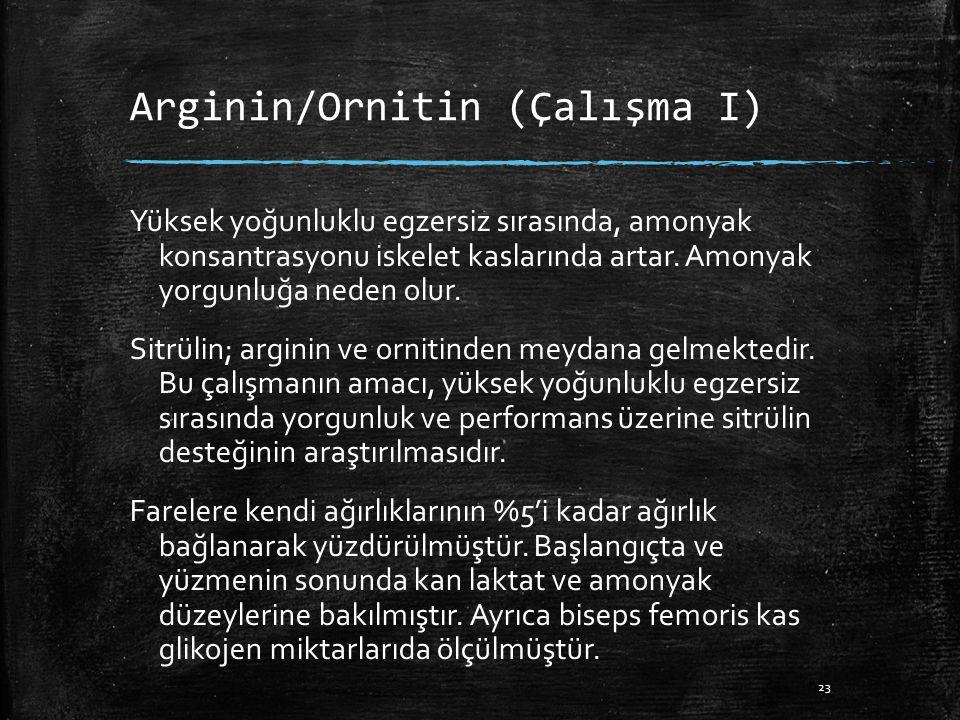 Arginin/Ornitin (Çalışma I) Yüksek yoğunluklu egzersiz sırasında, amonyak konsantrasyonu iskelet kaslarında artar.