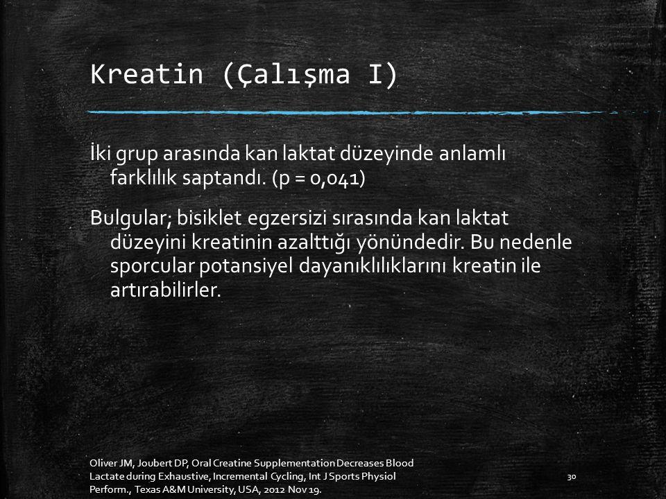 Kreatin (Çalışma I) İki grup arasında kan laktat düzeyinde anlamlı farklılık saptandı.