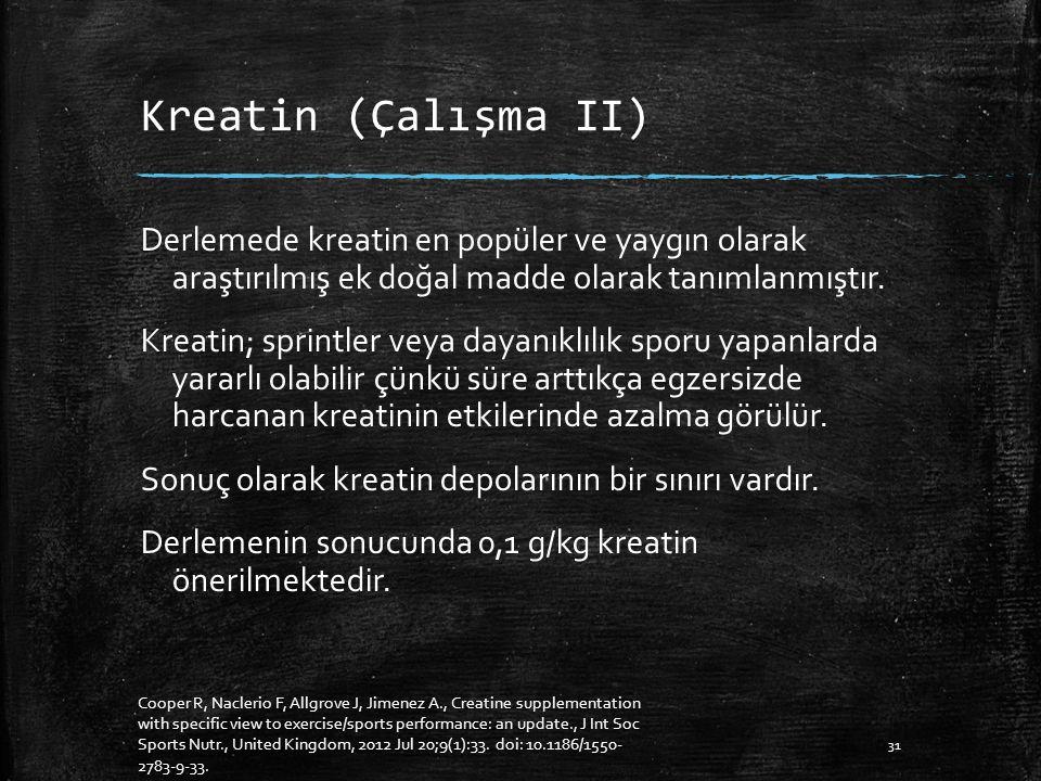 Kreatin (Çalışma II) Derlemede kreatin en popüler ve yaygın olarak araştırılmış ek doğal madde olarak tanımlanmıştır.