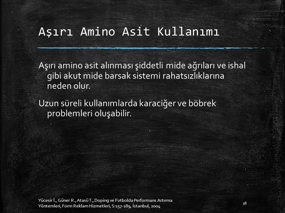 Aşırı Amino Asit Kullanımı Aşırı amino asit alınması şiddetli mide ağrıları ve ishal gibi akut mide barsak sistemi rahatsızlıklarına neden olur.
