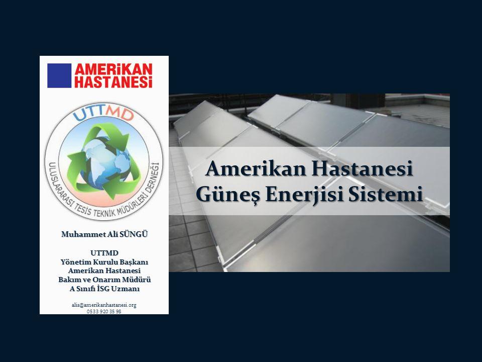 Türkiye'de Günes Enerjisi Potansiyeli : SHC nin (Solar Heating & Cooling Programme ) 2009 raporuna göre bazı ülkelere göre güneş kollektörler kullanımını aşağıdaki tabloda görünmektedir ; Amerikan Hastanesi Güneş Enerjisi Sistemi http://www.solarthermalworld.org