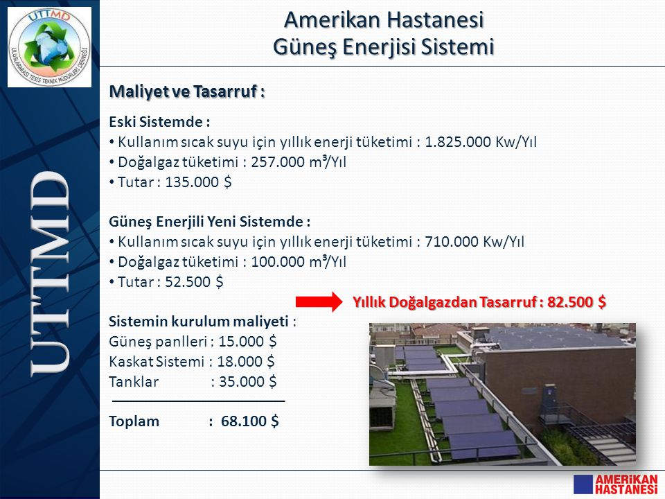 Maliyet ve Tasarruf : Amerikan Hastanesi Güneş Enerjisi Sistemi Eski Sistemde : • Kullanım sıcak suyu için yıllık enerji tüketimi : 1.825.000 Kw/Yıl •