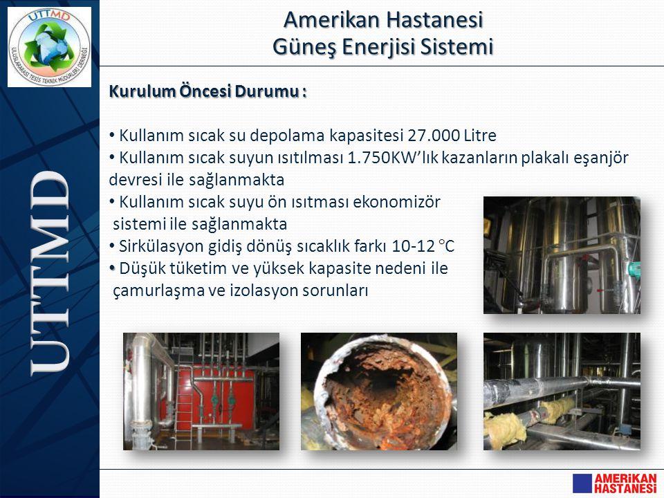 Kurulum Öncesi Durumu : • Kullanım sıcak su depolama kapasitesi 27.000 Litre • Kullanım sıcak suyun ısıtılması 1.750KW'lık kazanların plakalı eşanjör