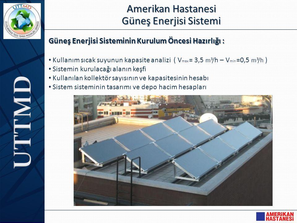 Güneş Enerjisi Sisteminin Kurulum Öncesi Hazırlığı : • Kullanım sıcak suyunun kapasite analizi ( V max = 3,5 m³/ h – V min =0,5 m³/h ) • Sistemin kuru