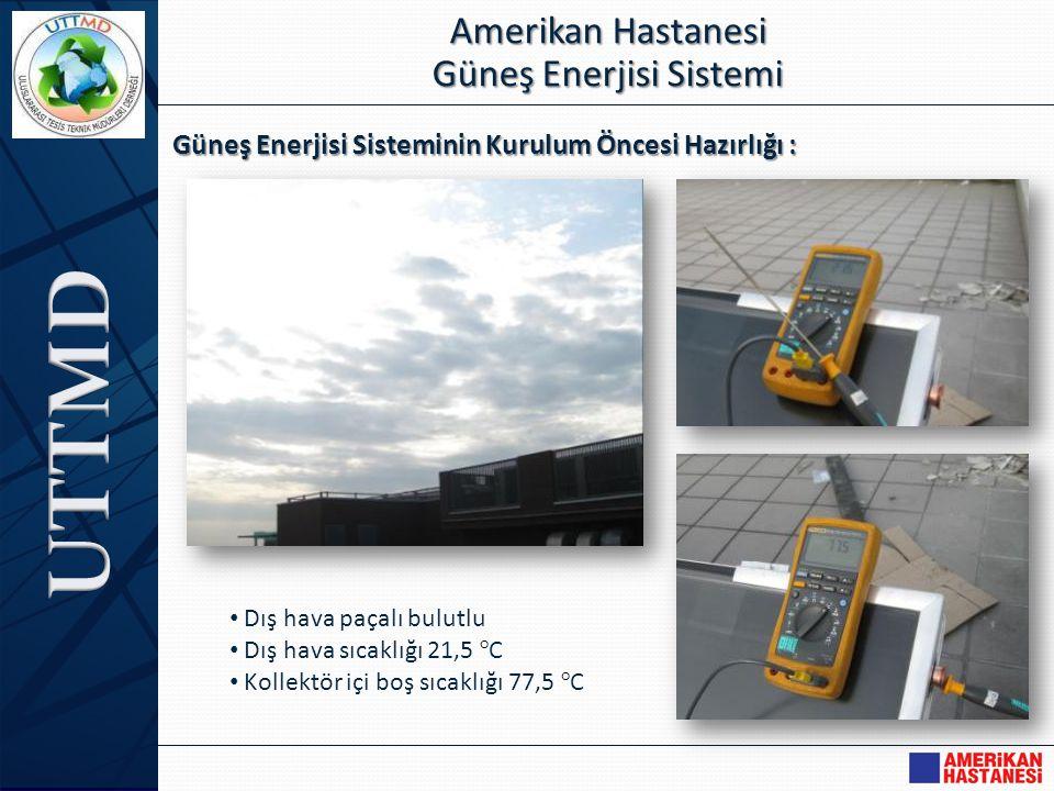 Güneş Enerjisi Sisteminin Kurulum Öncesi Hazırlığı : Amerikan Hastanesi Güneş Enerjisi Sistemi • Dış hava paçalı bulutlu • Dış hava sıcaklığı 21,5 °C
