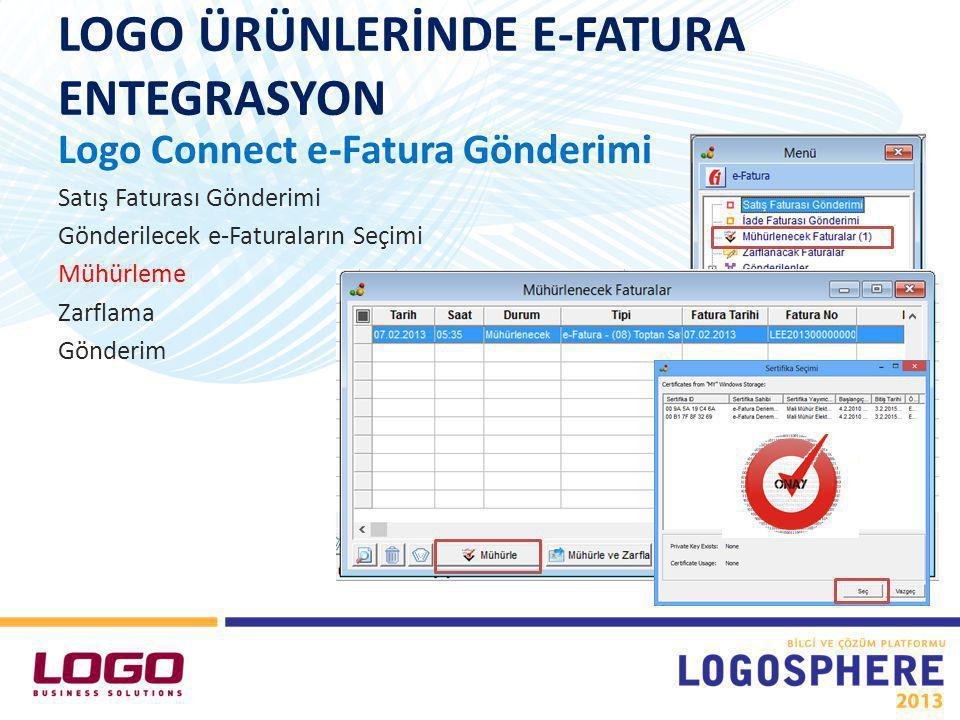 LOGO ÜRÜNLERİNDE E-FATURA ENTEGRASYON Logo Connect e-Fatura Gönderimi Satış Faturası Gönderimi Gönderilecek e-Faturaların Seçimi Mühürleme Zarflama Gönderim