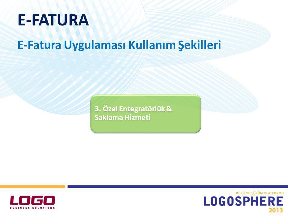 E-FATURA E-Fatura Uygulaması Kullanım Şekilleri 3. Özel Entegratörlük & Saklama Hizmeti