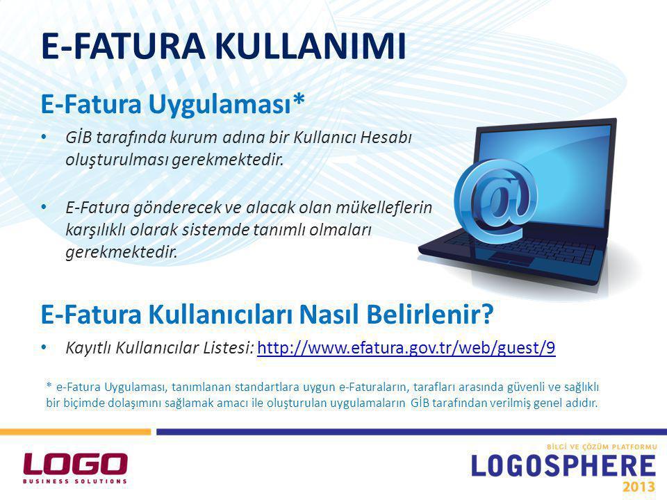LOGO ÜRÜNLERİNDE E-FATURA ÖZEL ENTEGRASYON Logo e-Fatura Ayarları Firma Tanımı Cari Hesap Tanımı E-Fatura Oluşturulması
