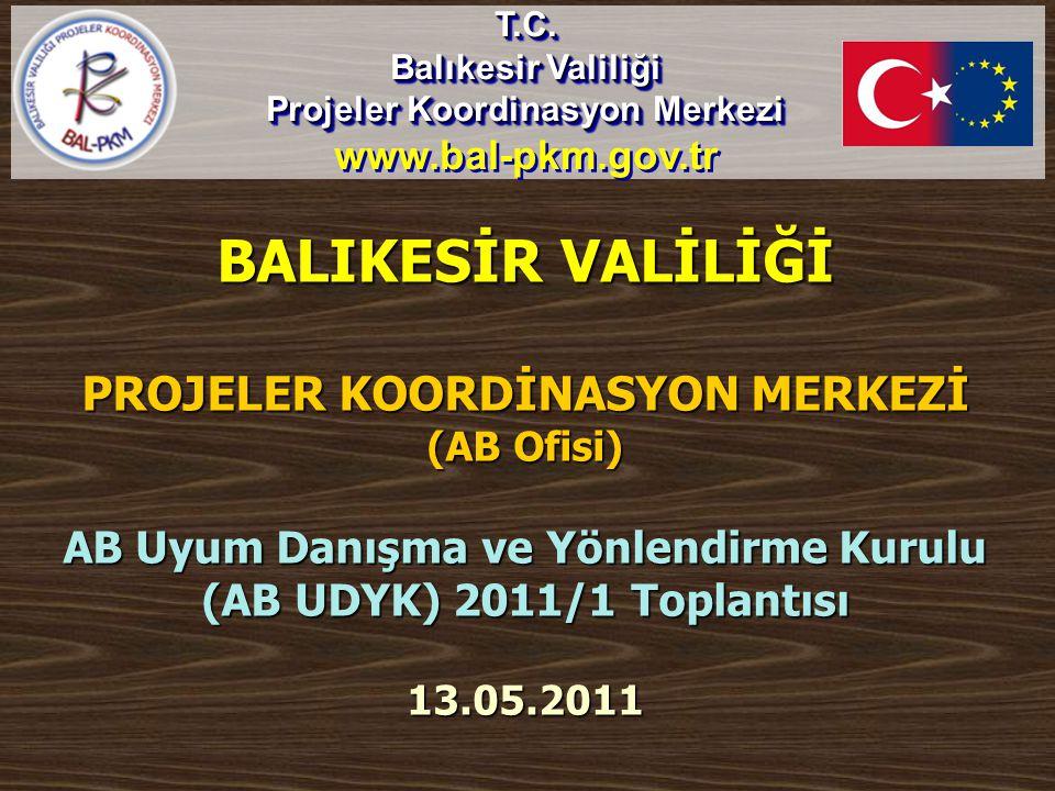 BALIKESİR VALİLİĞİ PROJELER KOORDİNASYON MERKEZİ (AB Ofisi) AB Uyum Danışma ve Yönlendirme Kurulu (AB UDYK) 2011/1 Toplantısı 13.05.2011 T.C. Balıkesi