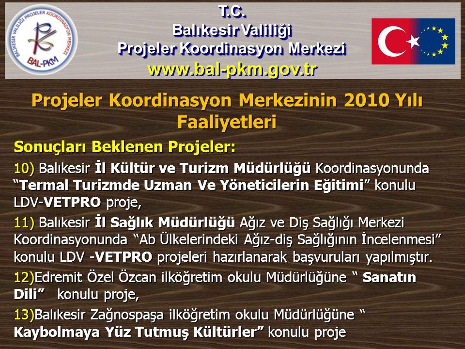 """Sonuçları Beklenen Projeler: 10) Balıkesir İl Kültür ve Turizm Müdürlüğü Koordinasyonunda """"Termal Turizmde Uzman Ve Yöneticilerin Eğitimi"""" konulu LDV-"""