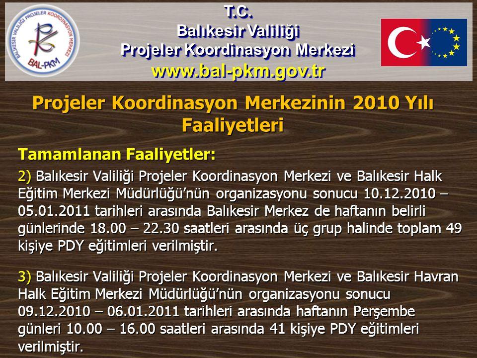 Tamamlanan Faaliyetler: 2) Balıkesir Valiliği Projeler Koordinasyon Merkezi ve Balıkesir Halk Eğitim Merkezi Müdürlüğü'nün organizasyonu sonucu 10.12.