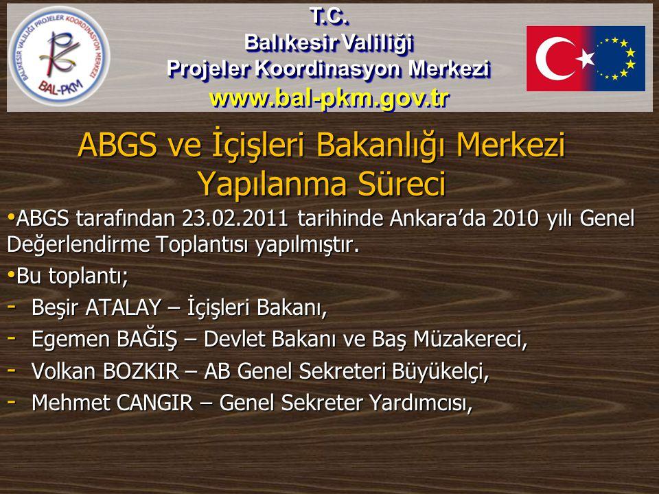 ABGS ve İçişleri Bakanlığı Merkezi Yapılanma Süreci • ABGS tarafından 23.02.2011 tarihinde Ankara'da 2010 yılı Genel Değerlendirme Toplantısı yapılmış