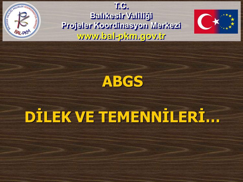 ABGS DİLEK VE TEMENNİLERİ… T.C. Balıkesir Valiliği Projeler Koordinasyon Merkezi www.bal-pkm.gov.trT.C. Balıkesir Valiliği Projeler Koordinasyon Merke
