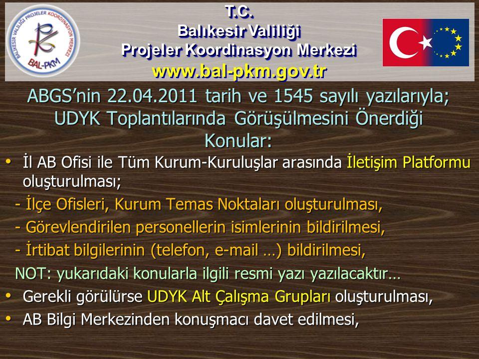 ABGS'nin 22.04.2011 tarih ve 1545 sayılı yazılarıyla; UDYK Toplantılarında Görüşülmesini Önerdiği Konular: • İl AB Ofisi ile Tüm Kurum-Kuruluşlar aras