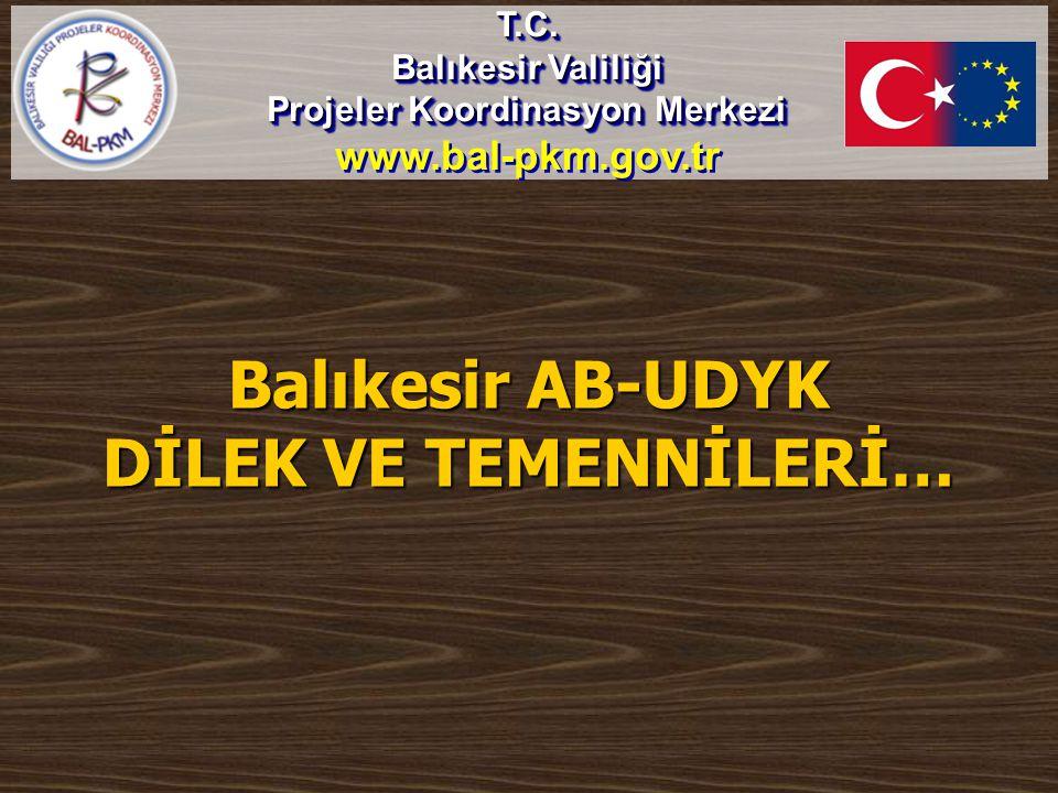 Balıkesir AB-UDYK DİLEK VE TEMENNİLERİ… T.C. Balıkesir Valiliği Projeler Koordinasyon Merkezi www.bal-pkm.gov.trT.C. Balıkesir Valiliği Projeler Koord