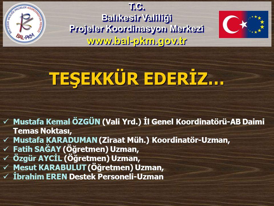 TEŞEKKÜR EDERİZ… T.C. Balıkesir Valiliği Projeler Koordinasyon Merkezi www.bal-pkm.gov.trT.C. Balıkesir Valiliği Projeler Koordinasyon Merkezi www.bal