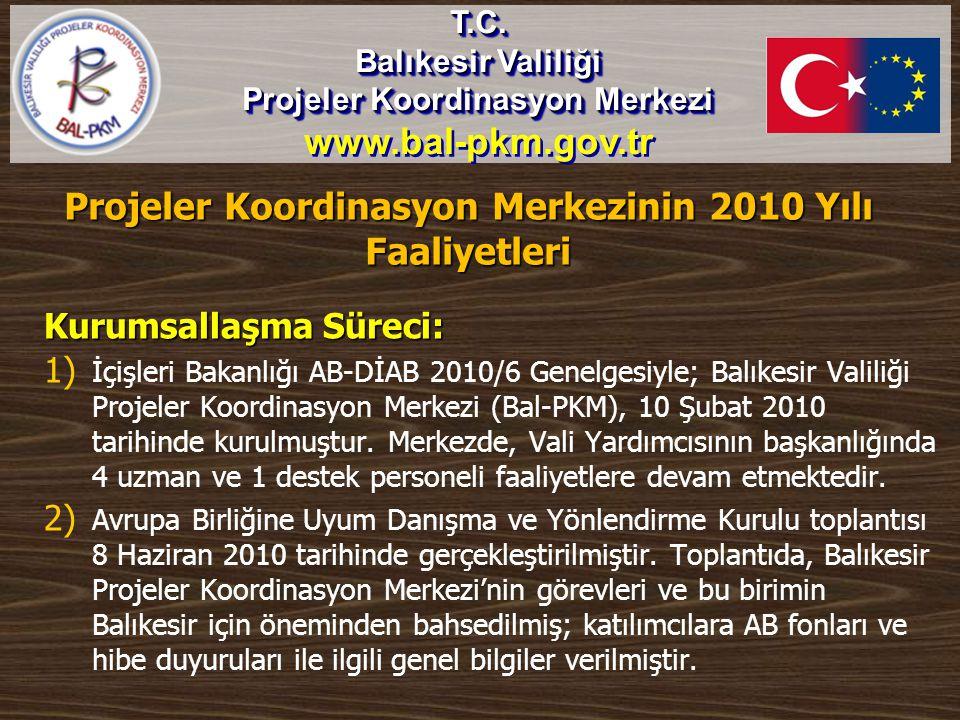 Projeler Koordinasyon Merkezinin 2010 Yılı Faaliyetleri Kurumsallaşma Süreci: 1) 1) İçişleri Bakanlığı AB-DİAB 2010/6 Genelgesiyle; Balıkesir Valiliği