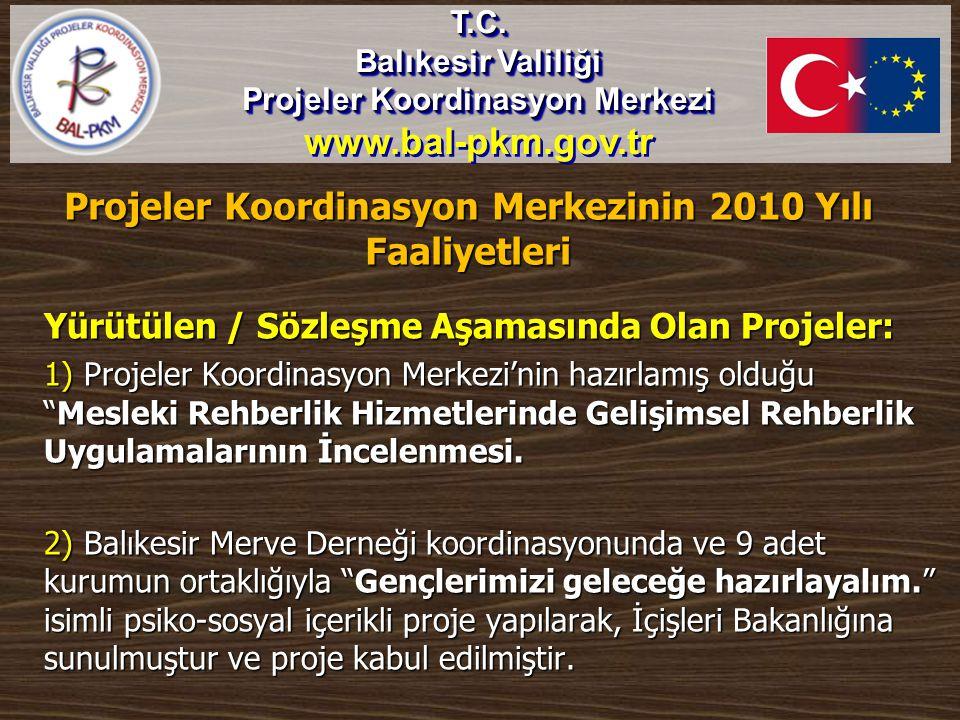 Projeler Koordinasyon Merkezinin 2010 Yılı Faaliyetleri Yürütülen / Sözleşme Aşamasında Olan Projeler: 1) Projeler Koordinasyon Merkezi'nin hazırlamış
