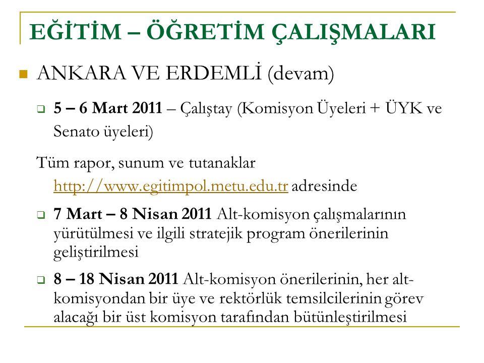 EĞİTİM – ÖĞRETİM ÇALIŞMALARI  ANKARA VE ERDEMLİ (devam)  5 – 6 Mart 2011 – Çalıştay (Komisyon Üyeleri + ÜYK ve Senato üyeleri) Tüm rapor, sunum ve t
