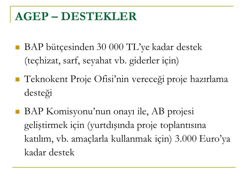 AGEP – DESTEKLER  BAP bütçesinden 30 000 TL'ye kadar destek (teçhizat, sarf, seyahat vb. giderler için)  Teknokent Proje Ofisi'nin vereceği proje ha